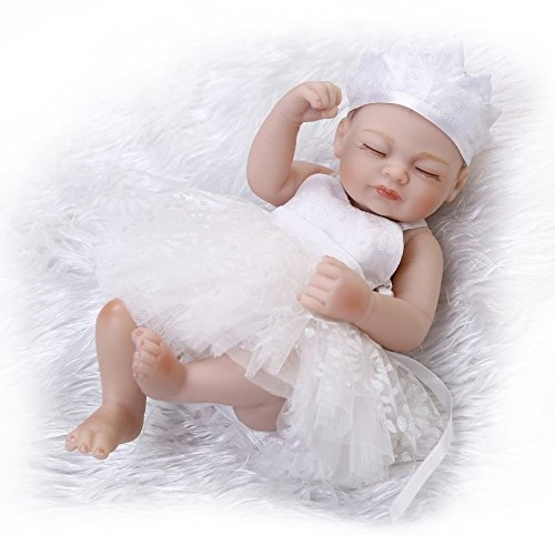 Nicery Reborn Baby Doll Réincarné bébé Poupée Doux Simulation Silicone Vinyle 10 Pouces 26cm Qui Semble Vivant Imperméable Jouet Vif réaliste Âge 3+ Small Girl Wedding Dress Eyes Close