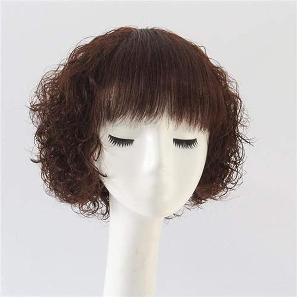 学習者虎ケーブルカーYrattary 女性のための100%本物の髪ショートカーリーヘアファッションナチュラル耐熱ファイバーウィッグファッションウィッグ (Color : Dark brown)