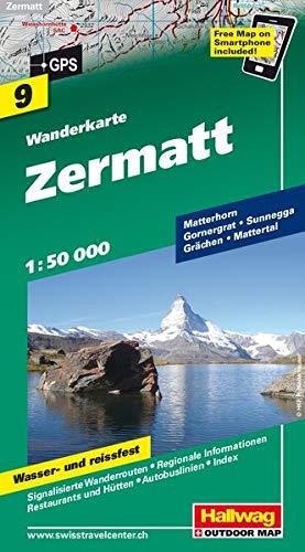 Zermatt: Hallwag Wanderkarte Nr. 9 Massstab 1:50000