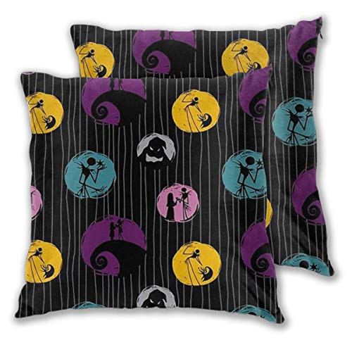 MISS-YAN Jack Nightmare Before Christmas - Funda de cojín decorativa para cama, silla, sofá, 2 unidades