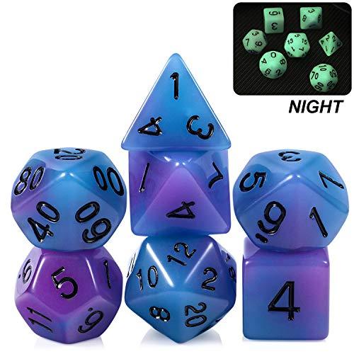 Dados DND que brillan en la oscuridad, azul y morado 7 dados poliédricos D&D con pounch gratis para mazmorras y dragones RPG MTG juegos de mesa
