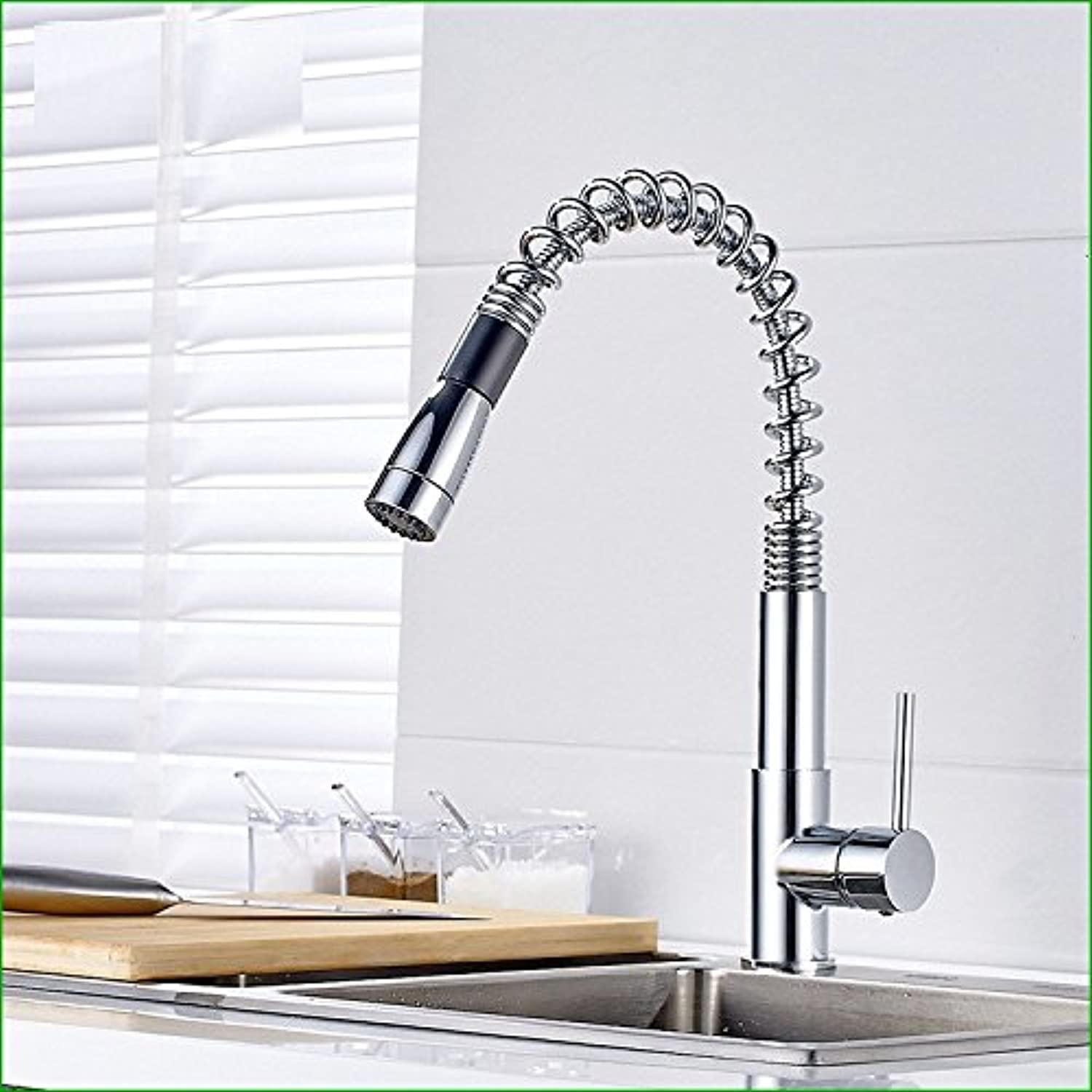 Bijjaladeva Antique Bathroom Sink Vessel Faucet Basin Mixer Tap The Brass chrome spring pull-down swivel kitchen sink basin faucet Water mixing of hot and cold dishes basin mixer