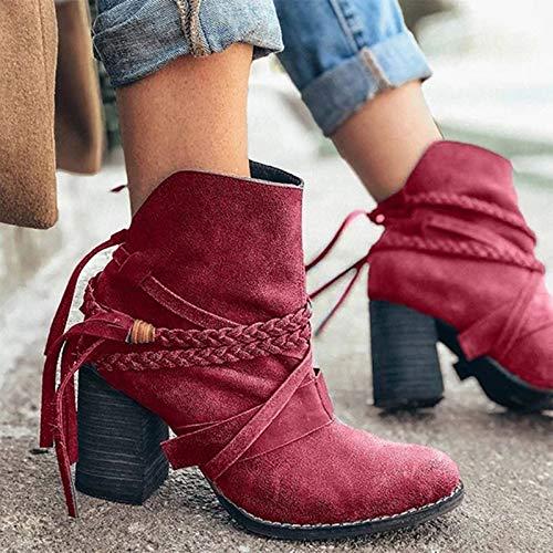 Otoño de las Mujeres Botas de Tobillo Flecos Decoración de Diseño Irregular Medio Talón Botas de las Señoras Casual Color Sólido Botas, rojo, 41 EU