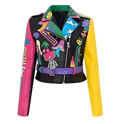 MAWEI Leder Kurze Lederjacke Graffiti-Muster PU Lederjacke für Feuer und Regenbogen Print Frau Motorrad Kurze Leder Outwear für Frauen Club Style-Bunt_S.