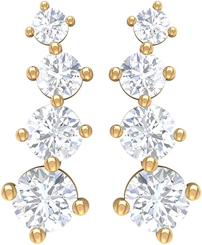 Simple shopping Atlanta Mall Gold Earrings 1 2 Diamond HI-SI Cra Climber CT