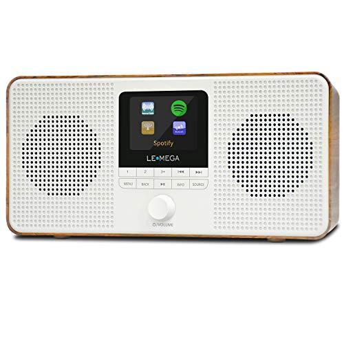 LEMEGA IR4 Stereo Internet Radio, FM Digital Radio, WiFi Spotify Connect, Bluetooth,Dual Alarms&Clock,Kitchen/Sleep/Snooze Timer,Presets,Headphones, Built-in Battery and Mains Powered-Walnut