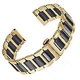 22 millimetri superiore due toni ss cinturino di orologio in ceramica in oro e acciaio inossidabile solido nero fibbia a farfalla
