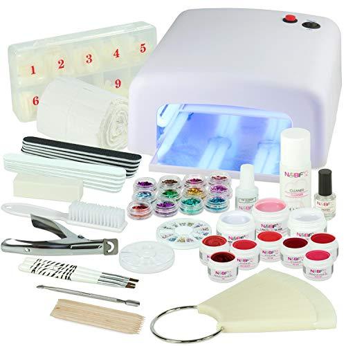 Kit débutant Gel UV Deluxe Red Passion XXXL-Nagelset idéale avec l'art d'ongle, lampe UV et UV Gel Starter