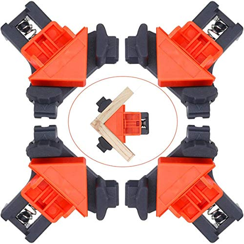 CAMTOA Right Angle Clamp,4Pcs Adjustable Corner Clamps 90 Degree Woodworking Clamps Multifunctional Single Handle Spring Loaded Swing Clip Fixer Welding Clamps