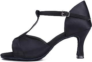 HIPPOSEUS Femmes Chaussures de Danse Latine Strass t-Strap Salle de Bal fête Salsa Danse Pratique Talon Haut Performance C...