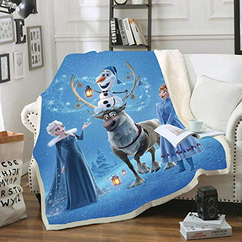 NICHIYO Frozen Blanket Cuddly Fleece Blanket Extra Sofa Blanket Warm Soft Couch Blanket Fluffy Blanket Adults Children Microfibre for Bed Bed and Wool Blanket Anime (08.150 x 200 cm)