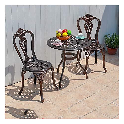 Juegos de muebles de jardín Jardín de sillas y mesas Set 3 piezas Mesas y sillas de hierro, al aire libre Bistro fijado jardín moldeada Bistro aire libre de aluminio Conjunto muebles del patio, Ronda