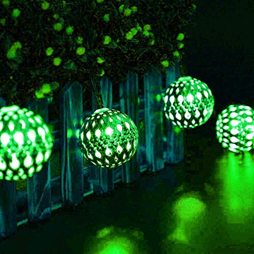 Luces Solares de Cadena al Aire Libre, 6m 30LED Luces de Cadena al Aire Libre de la Bola Marroquí Solar con 8 Modos a Prueba de Agua (Verde)