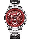 LIGE 9814 - Reloj analógico de Cuarzo con Correa de Acero Inoxidable para Hombre