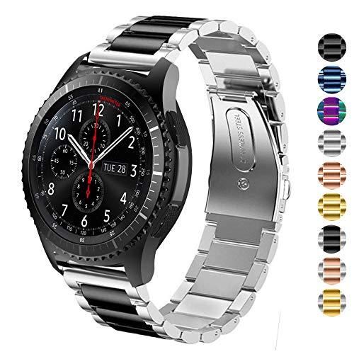 DEALELE Kompatibel Samsung Gear S3 Uhrenarmband 22mm Solider Edelstahl Metall Ersatz für Armbands, Falls zutreffend Samsung Gear S3 Frontier/Classic/Galaxy Watch 46mm Damen Herren (Silber/Schwarz)