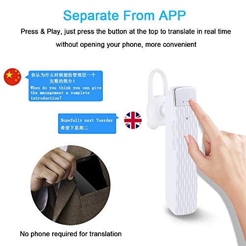 MOSTOP Bluetooth Translator Earbuds Smart Wireless Translation Device Intelligent Headset Instant Portable Translator Suit to Andriod & iOS Real Time Language Translator (White) Photo #5