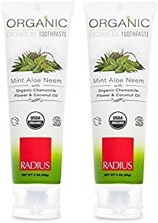 Radius Organic Mint Aloe Neem Toothpaste (Pack of 2) With Coconut, Blue Agave, Rosemary, Peppermint, Grapefruit, Guar Gum, Aloe Vera, Neem, Tea Tree, Orange, Yacon and Eucalyptus, 3 oz. each