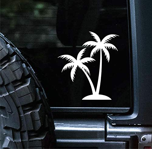 Sunset Graphics & Decals Palm Tree Decal Vinyl Car Sticker Tropical Beach | Cars Trucks Vans Walls Laptop | White | 4.5 inches | SGD000038