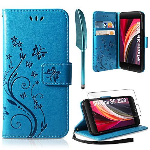 AROYI Lederhülle iPhone SE 2020 Flip Hülle+ HD Schutzfolie, iPhone 7/iPhone 8 Wallet Case Handyhülle PU Leder Tasche Case Kartensteckplätzen Schutzhülle für iPhone 7/8 /iPhone SE 2020