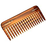 Giorgio G49 5.75 Inch Large Hair Detangling Comb, Wide Teeth for Thick Curly Wavy Hair. Long Hair Detangler Comb For Wet and Dry. Handmade of Quality Cellulose, Saw-Cut, Hand Polished, Tortoise Shell