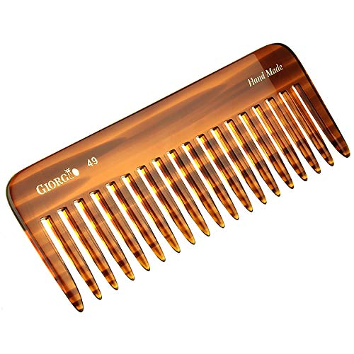 Giorgio G49 Large 5.75 Inch Hair Detangling Comb, Wide Teeth for Thick Curly Wavy Hair. Long Hair Detangler Comb For Wet and Dry. Handmade of Quality Cellulose, Saw-Cut, Hand Polished, Tortoise Shell