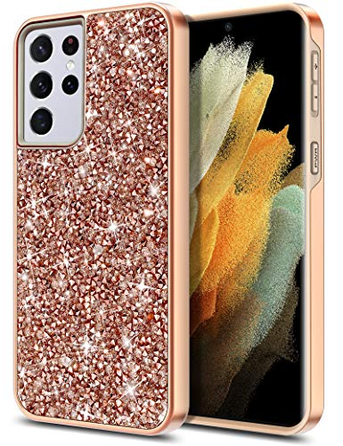 HoneyAKE Compatible with Galaxy S21 Ultra 5G Case Bling Rhinestone Diamond Bumper for Women Girls Dual Layer Shell Hard PC Soft Rubber Protective Cover Case for Galaxy S21 Ultra 6.8 inch, Rose Gold
