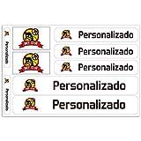 Haberdashery Online Kit 9 Pegatinas Personalizadas para Motos, automóviles o Bicicletas. Etiquetas con tu Bandera y tu Texto. Modelo: Blanco