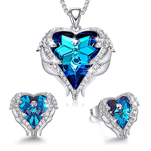 CDE Jewelry Set Sapphire Blue Crystals from Austrian Crystals Sets for Women Wedding Anniversary Birthday Valentine's Day Gifts