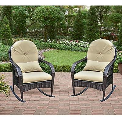 B BAIJIAWEI 2pcs Outdoor Wicker Rocking Chair - Garden Patio Yard Porch Lawn Balcony Backyard Furniture All- Weather Wicker Rocker Chair with Cushions (2pcs Black wickerr-Khaki)