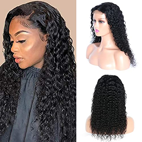 SWEETGIRL Water Wave Lace Closure Wigs Human Hair Pre Plucked (18 Inches) 4x4 Lace Front Curly Wigs Wet and Wavy Wigs for Women Natural Color