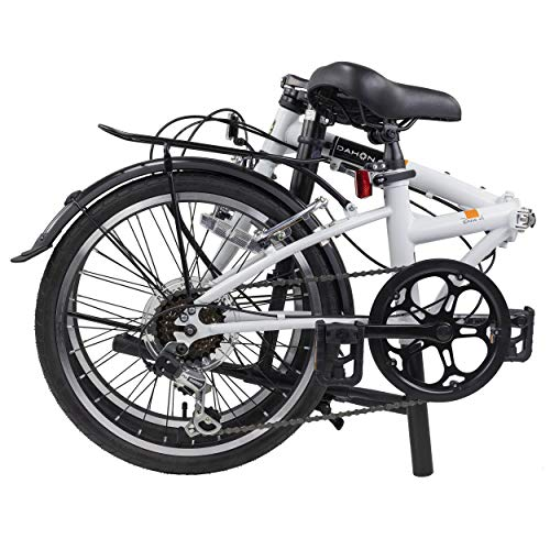 "DAHON Dream D6 Folding Bike,20"" Steel Frame 6-Speed Dahon Gear Foldable Bicycle for Adults, White"