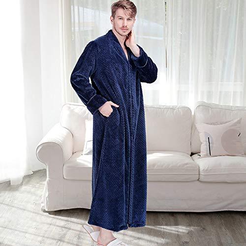 YRTHOR Men Plus Size Long Thermal Bathrobe, Thick Flannel Warm Kimono Bath Robe Mens Winter Dressing Gown Women Male Long Sleeve Robes,Men Navy,XL