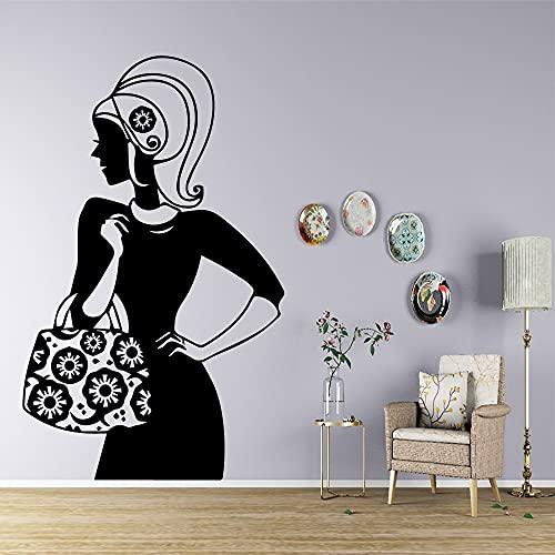 DIY mujer bolsa pegatinas de pared pegatinas decorativas para la decoración de la habitación de los niños pegatinas de pared extraíbles autoadhesivas A6 58x94cm