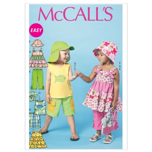 McCall Patterns M6495 Toddlers'/Children's Tops, Shorts, Pants and Hats, Size CF (4-5-6)