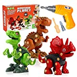 Mini Tudou Take Apart Dinosaur Toys for Kids, Dino Building Learning Toys Set with Electric Drill, Including T Rex, Triceratops, Velociraptor, Construction STEM Gift for 3 4 5 6 7 Year Old Boys Girls