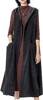 Minibee Women's Sleeveless Plus Jacket Coat Loose Button Down Corduroy Shirt Long Jacket