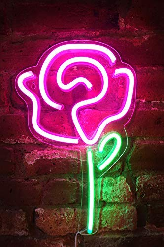 Isaac Jacobs 15' x 9' inch LED Neon Pink Rose Flower with Green Stem Wall Sign for Cool Light, Wall Art, Bedroom Decorations, Home Accessories, Party, and Holiday Decor: Powered by USB Wire (Rose)