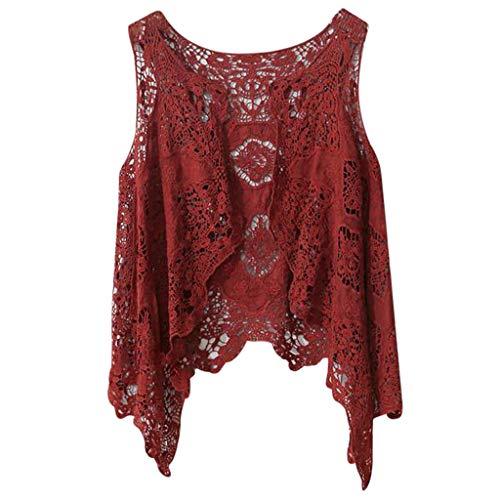 CAOQAO Damen Long Cardigan Elegant Stickerei,BeiläUfig Partei Kleid Kurz Mantel,Damen Lange ÄRmel Mode Sommer Open Stitch HäKeln Weste Bluse Temperament Schlanker