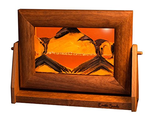Exotic Sands Men's Gift - Sm13 Small Alder Frame (Sunset Orange) The Perfect Men's Gift - Best Fathers Day Present. Moving, Sifting Liquid Sands Make Desert scapes.