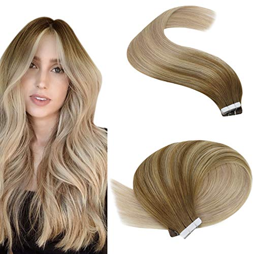 YoungSee Extension Cheveux Naturel Adhesif Skin Weft Tape in Extension Bandes Adhesives Ombre Brun Mixte Blond 20pcs/50g 18 Pouces