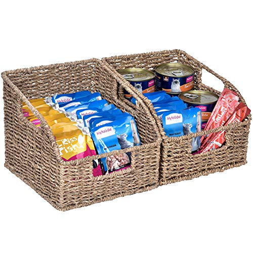 """StorageWorks Seagrass Wicker Baskets with Built-in Handles, Hand Woven Baskets for Organizing, 8.5"""" x 9.8"""" x 7.5"""", 2-Pack"""