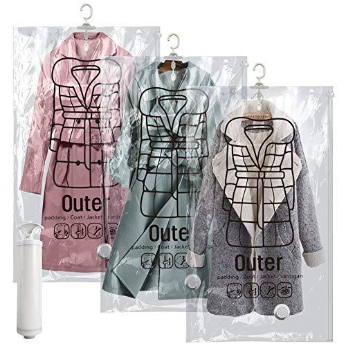 PETAFLOP Bolsas de ahorro de espacio para colgar, bolsa de compresión de sellado al vacío, bolsa de almacenamiento reutilizable para ropa, vestido, abrigos de invierno, paquete de 3, 66x109 cm