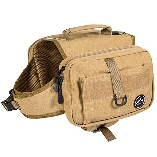 Himal Outdoors Dog Backpack, Dog Hiking Backpack, Hound Saddle Bag for Medium & Large Dog with Side Pockets & Adjustable Strap, Brown