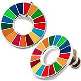 国連本部限定販売 SDGs ピンバッジ SDGs バッジ 最新仕様 珐琅彩 バッジ 国連 ピンバッチ 日本未発売 UN 2個セット ピンバッジの留め具 8個付 人気 おしゃれ ギフト