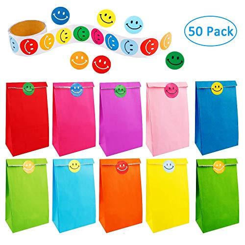 50 Stück Papiergeschenkbeutel mit Einer Rolle von 100 Lächeln Gesicht Aufkleber für Kinder Erwachsene Geburtstagsparty liefert
