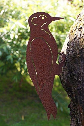 Rostalgie Edelrost Specht mit Schraubgewinde für Holz Gartendekoration Vogel Metall