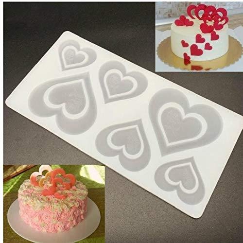 AMOYER 1pc Silikon-schokoladen-Form-Herz-Rosen-Form Foundant Süßigkeit Keks Biskuit-Form Antihaft-Kuchen-Muffin-wannen-Form Kuchen, Die Werkzeuge