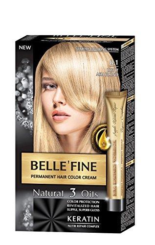 BELLE'FINE® - Coloration crème pour cheveux Black Series - luxueux - coloration naturelle/permanente - 3 huiles/kératine - BLOND CENDRÉ CLAIR