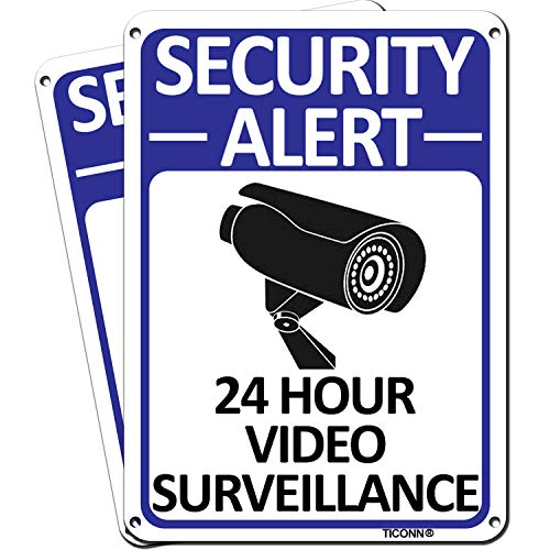 TICONN 2-Pack 24 Hour Video Surveillance Sign, Security Alert Aluminum Sign, 10x7 Inches Indoor/Outdoor Use for Home Business CCTV Security Camera, Reflective, UV Protected & Waterproof