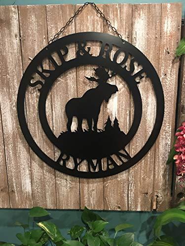 Ced454sy ACM Metall Elch Dekor Schneller Versand Elch Schild Ranch Farm Familie Namensschild Tor Schild Waldszene Elch Türhänger